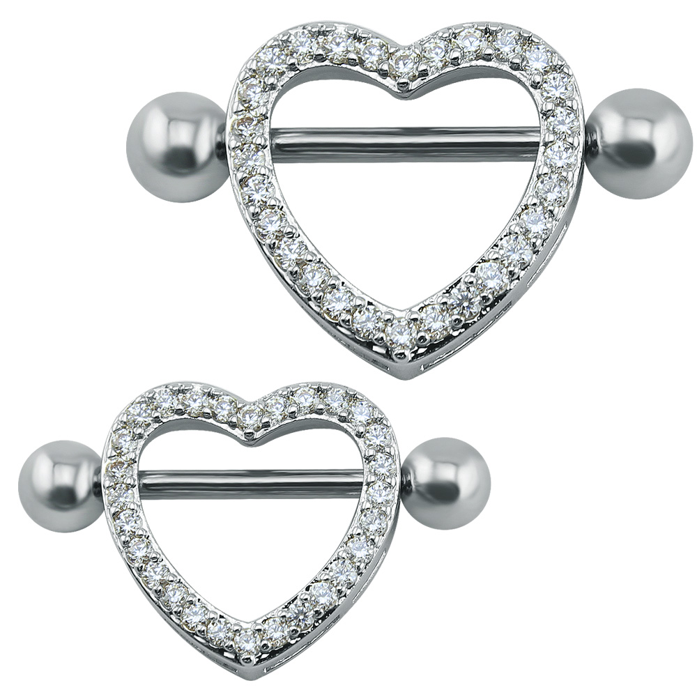 14G Crystal Heart Nipple...