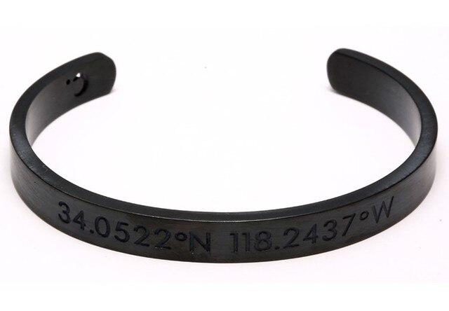 New Pulseiras Cuff Bracelet Black Gun Plated Coordinates Collection Digital Couple Bangle Engraved Location Luxury for Men Women