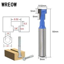 1pc 8mm Shank T-Slot Milling Cutters Router Bit carbide alloy Bit Steel Tungsten Carbide Cutters Woodworking Tool for Power Tool 1pc superior cemented tungsten carbide round slot mill cutter core box bit woodwork tool yhdx1 2x1