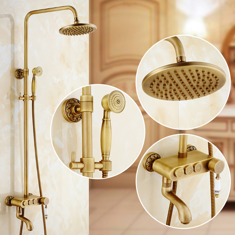 new design brass antique shower faucet shower panel single handle 3 diverter knobs shower mixer - Shower Knobs
