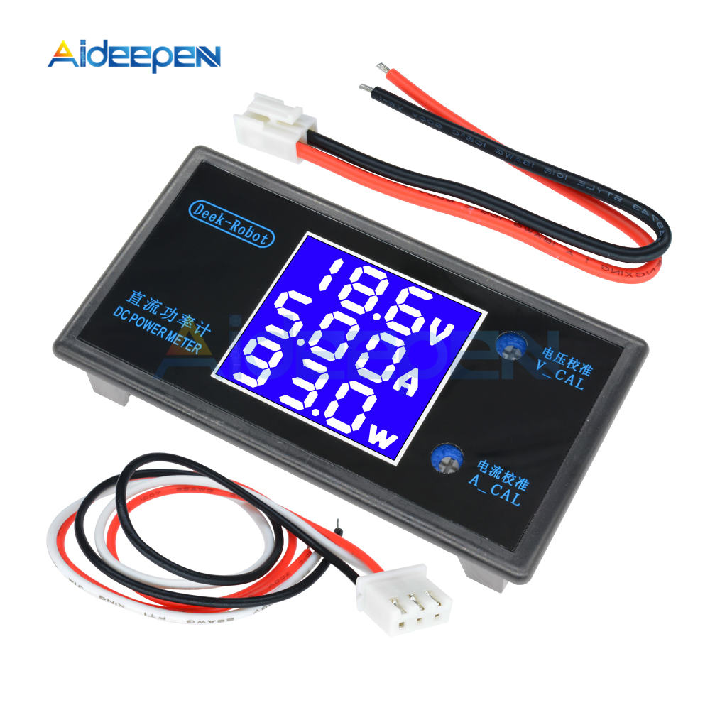 DC 0-100V 0-50V 5A 10A LCD Digital Voltmeter Ammeter Wattmeter Voltage Current Power Meter Volt Detector Tester 250W 1000W 28