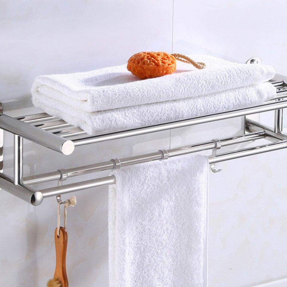 New Bathroom Towel Holder Bathroom Organizer Stainless Steel Wall-mounted Towel Rack Home Hotel Wall Shelf Hardware Accessory