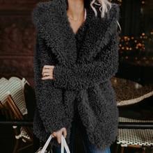 2019 Fashion Women Jacket Winter Warm Hoodie Wool Loose Long  Plus Size Ladies free shipping 3.25