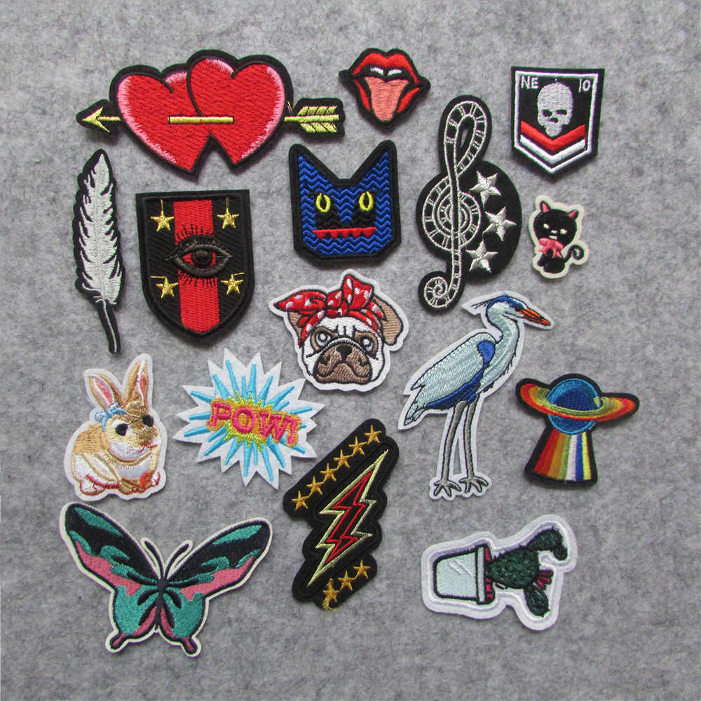 new style 16 pc Patch For Clothes Iron On Applique Embroidered Patches DIY Labels Backpack Sticker Sew Patches heart Cartoon
