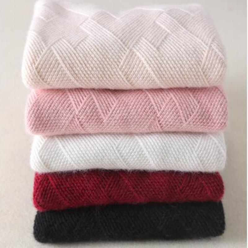 BELIARST เสื้อกันหนาว Cashmere สำหรับผู้หญิง 2019 ฤดูใบไม้ร่วงฤดูหนาวผู้หญิงแคชเมียร์บริสุทธิ์เรขาคณิตถักเสื้อกันหนาวเสื้อกันหนาวผู้หญิง-ใน เสื้อคลุมสวมศีรษะ จาก เสื้อผ้าสตรี บน   2