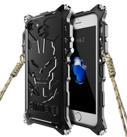 Zimon case For iphone 5 5s 6 6s 7 7 8 plus,Armor Heavy Dust Metal Aluminum IRONMAN protect Skeleton head phone shell case