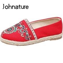 Johnature 2019 Nova Primavera/outono Retro Handmade Bordados Respirável Tecelagem de Linho Raso Sapatos de Algodão Pescador Mulheres Plana