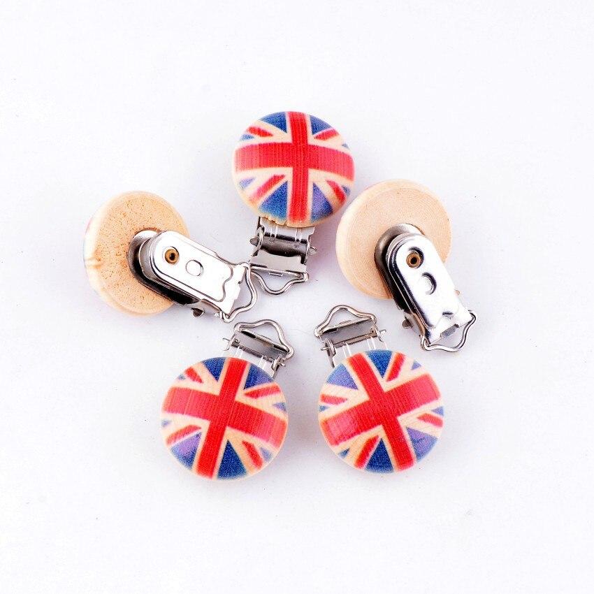 10 unids bebé Chupetes Clips Reino Unido bandera patrón madera metal ...