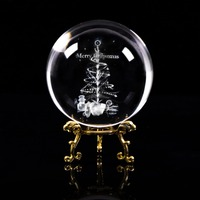 JQJ 3D Laser Engraved Christmas Tree Snowman Crystal Ball 80 mm Feng Shui Christmas Home Decoration Gift Ornaments with Base