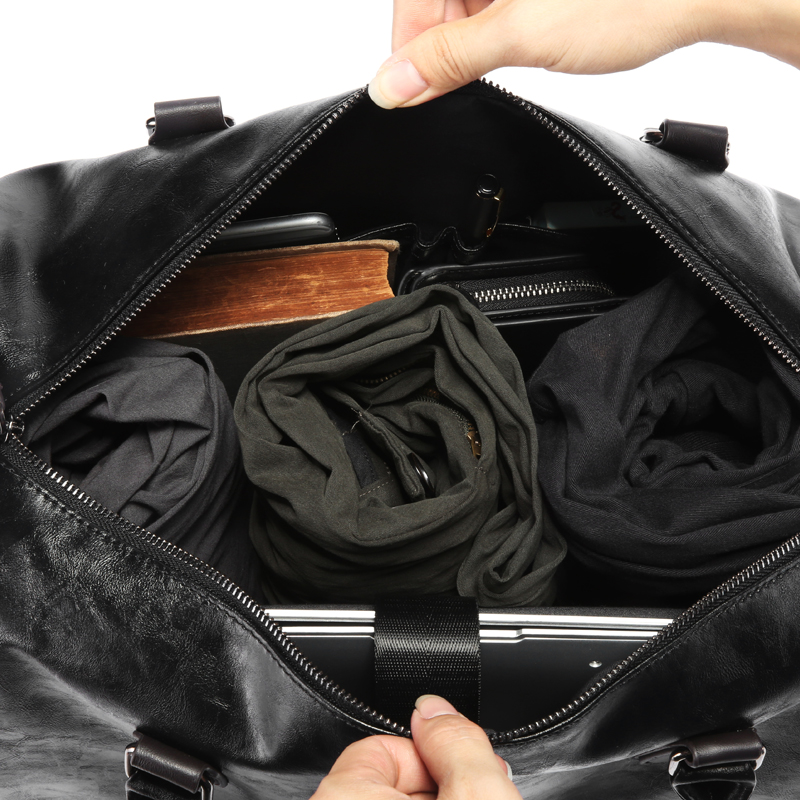 黒メンズ pu レザー大旅行バッグ大容量ダッフルバッグヴィンテージハンドバッグ荷物ショルダーバッグ 2019 新ファッション卸売  グループ上の スーツケース & バッグ からの 旅行バッグ の中 3