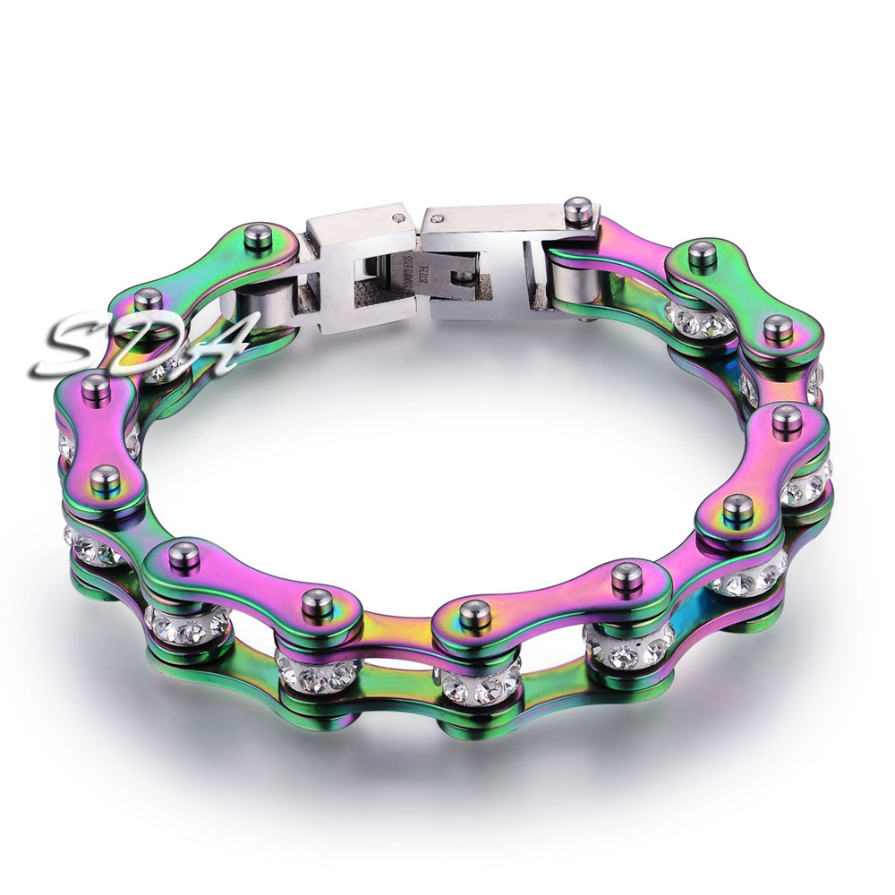 SDA New Rainbow Motorcycle Chains Jewelry for Women&Girl gift multiple size Factory dropship Top Quality YM135W