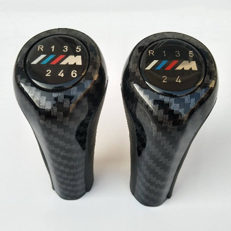 6 5 Speed Carbon Fiber Car Gear Shift Knob With M Logo For BMW 1 3 5 6 Series E30 E32 E34 E36 E38 E39 E46 E53 E60 E63 E83 E84