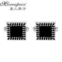 Luxury Shirt Cufflink For Men Brand Cuff Button Gemelos Black Abotoadura Jewelry Enamel Silver Tone Square Shirt Male Cuff Links цены