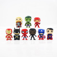 9pcs/lot 10cm The Avengers batman iron man Captain America Thor Spiderman Spider Man Superman figure model toy can shake head(China)