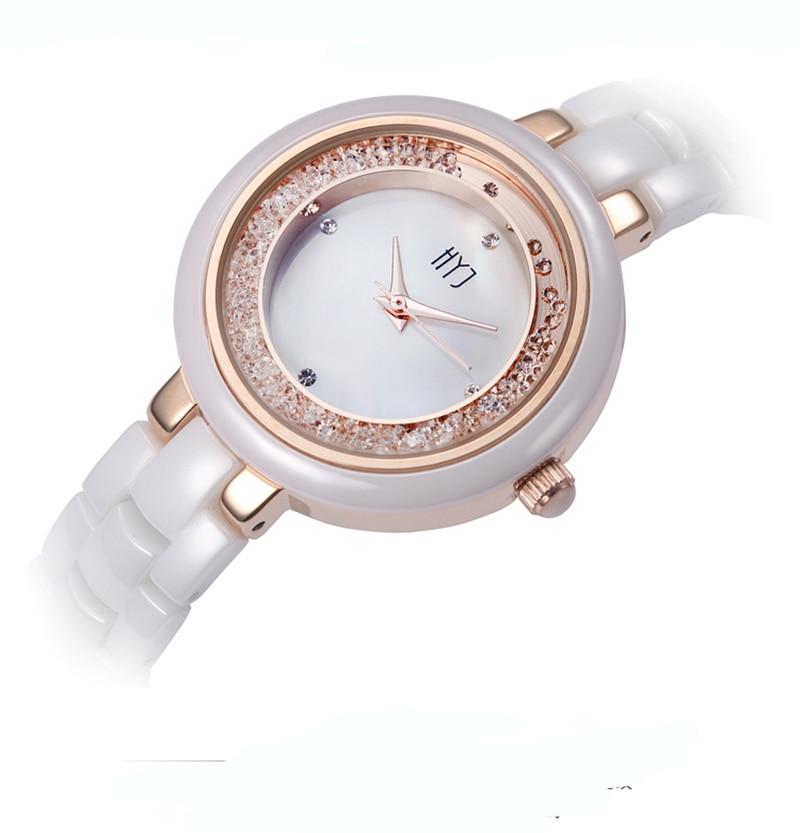 ФОТО HYJ  Pearl shell ceramic watch female white ceramic rhinestone table fashion waterproof ladies quartz watch women  relojes H254
