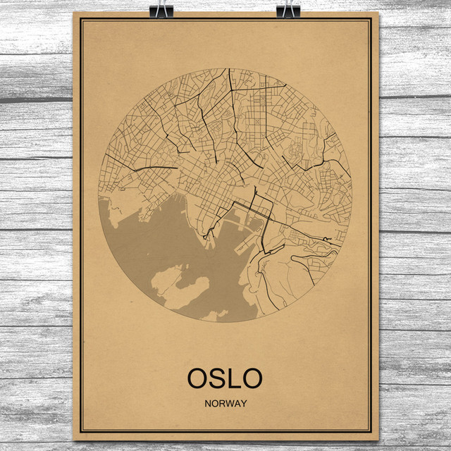 Oslo kraft paper world city map vintage retro poster wall art oslo kraft paper world city map vintage retro poster wall art sticker antique painting living room gumiabroncs Image collections