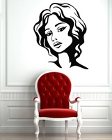 Wall Stickers Vinyl Decal Female Face Hot Sexy Hair Beauty Salon