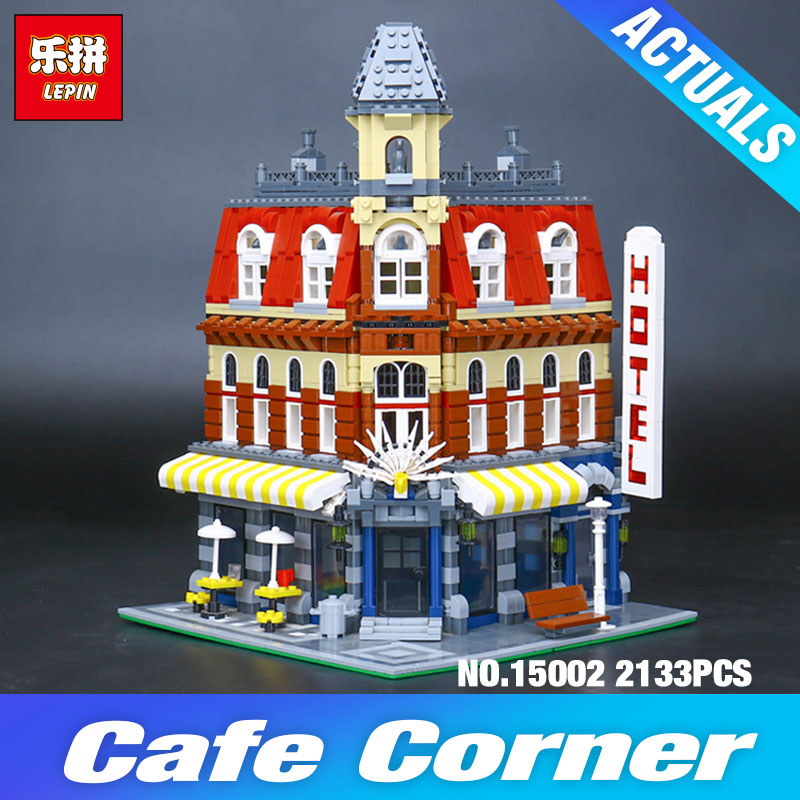 2017 New 2133Pcs LEPIN 15002 Cafe Corner Model Building Kits Blocks Kid DIY Educational Toy Children day Gift brinquedos 10182 new lepin 16008 cinderella princess castle city model building block kid educational toys for children gift compatible 71040