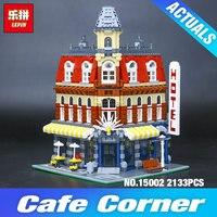 2016 New 2133Pcs LEPIN 15002 Creators Cafe Corner Model Building Kits Minifigure Blocks Kid Toy Gift