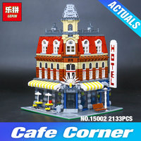 2016 New 2133Pcs LEPIN 15002 Creators Cafe Corner Model Building Kits Minifigure Blocks Kid Toy Gift