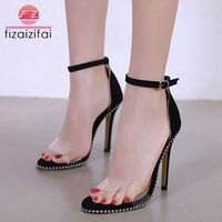 83abc478b FizaiZifai Women High Heel Sandals Sexy Rivets Buckle Summer Shoes Women  Fashion Transparent Wedding Party Sandals
