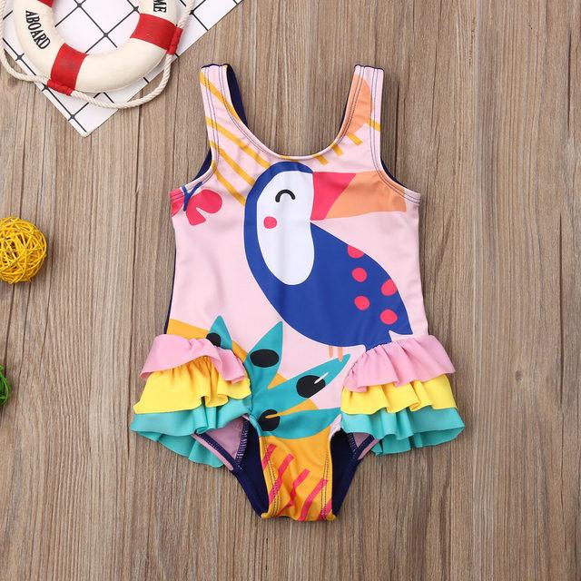0-5T Kids One-piece Swimsuit Toddler Kids Baby Girls Cartoon Bikini Swimwear Swimsuits Bathing Suit Beachwear 19
