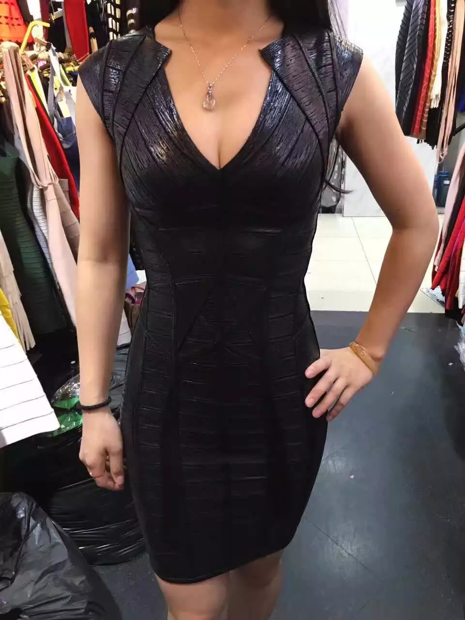 ea9491f8f95d Shining Beauty High Quality Women Sexy Designer Black Gold Bandage ...