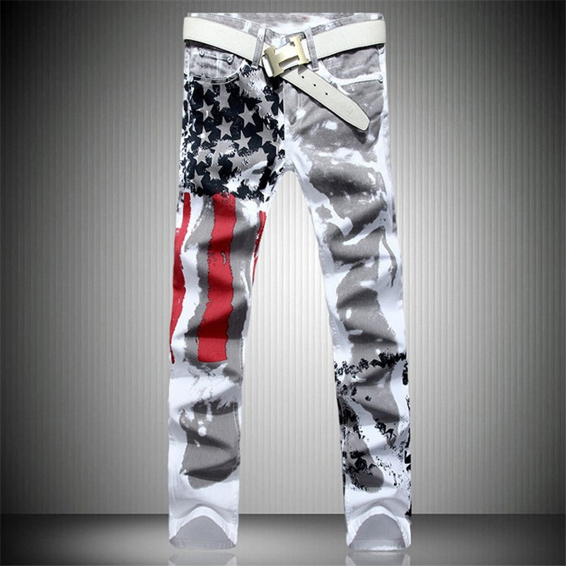 Mens Printed Jeans Flag Printing Design White Jeans For Men Stars Striped Straight Ripped Jeans Male 36 Free Shipping flag print zipper design jeans
