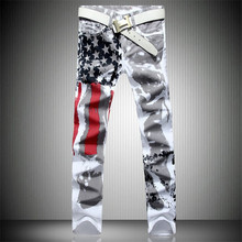 Mens Printed Jeans Plus Size Flag Printing Design White Jeans For Men Stars Striped Straight Ripped Jeans Male 36 Free Shipping