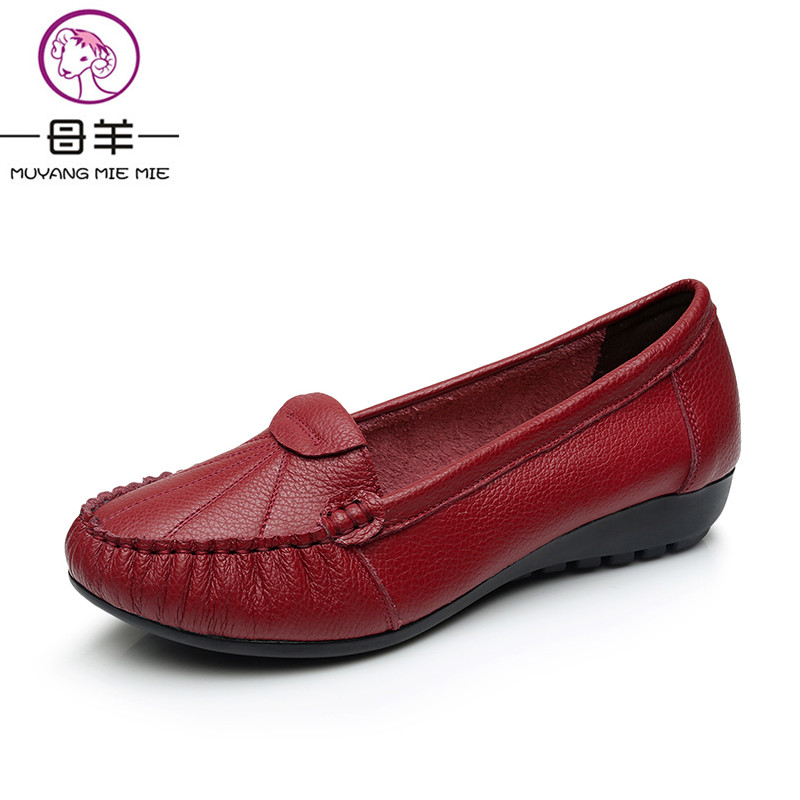 MUYANG MIE MIE Plus Size 35-43 Women Flats New Fashion Genuine Leather Flat Shoes Woman Soft Outsole Single Shoes Women Shoes muyang mie mie genuine leather women shoes woman casual flower single flat shoes soft comfortable women flats