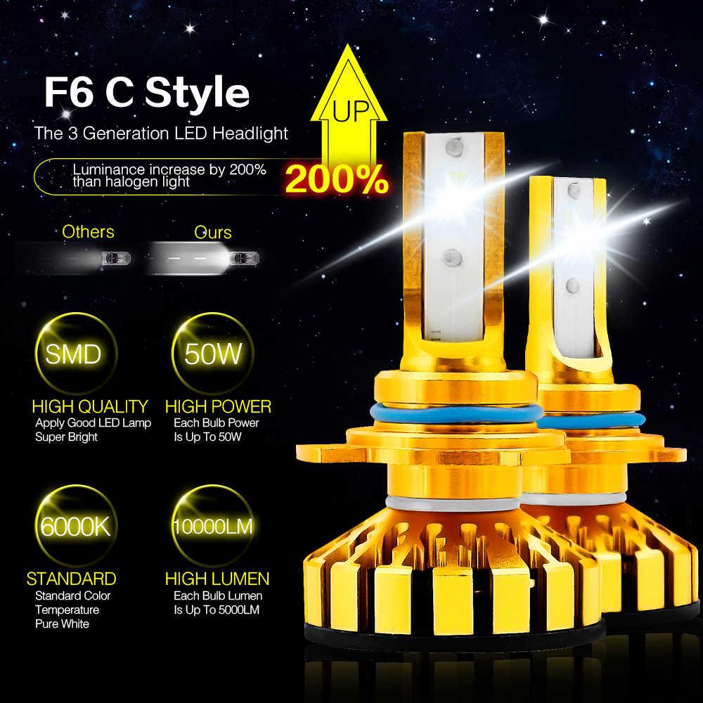 CROSSFOX 6000K Car Headlight Kit Canbus H1 H3 H11 9012 9005 9006 H4 LED Bulb 12V 50W 10000LM/Pair Automobile Headlamp Light