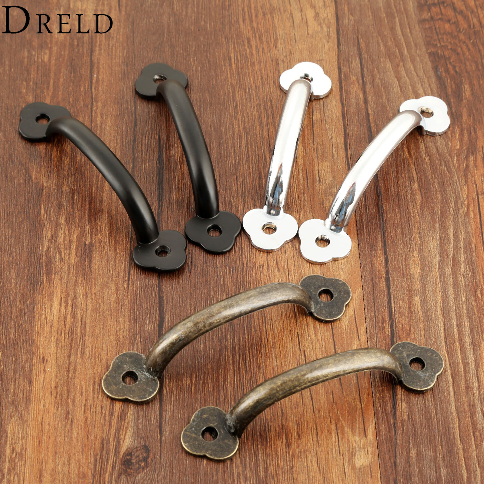 цены DRELD 2Pcs Decorative Furniture Handle Drawer Cupboard Kitchen Jewelry Wood Box Handles Pulls Knob Furniture Hardware 102*22mm
