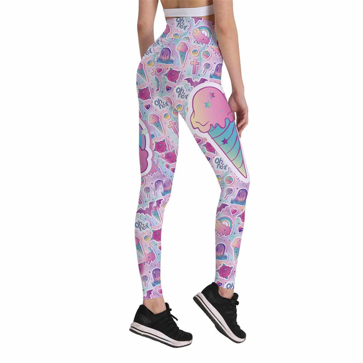 84d6407f802090 Women High Waist Leggings Cute Cartoon Icecream Rainbow Pink Print Push Up  Workout Leggings Mujer Wrinkle
