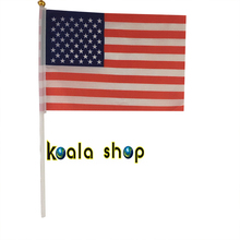100 PCS/ lot Promotion Wholesale allSme United States USA  Hand Waving National Flag 14*21cm #8 Polyester Free Shipping