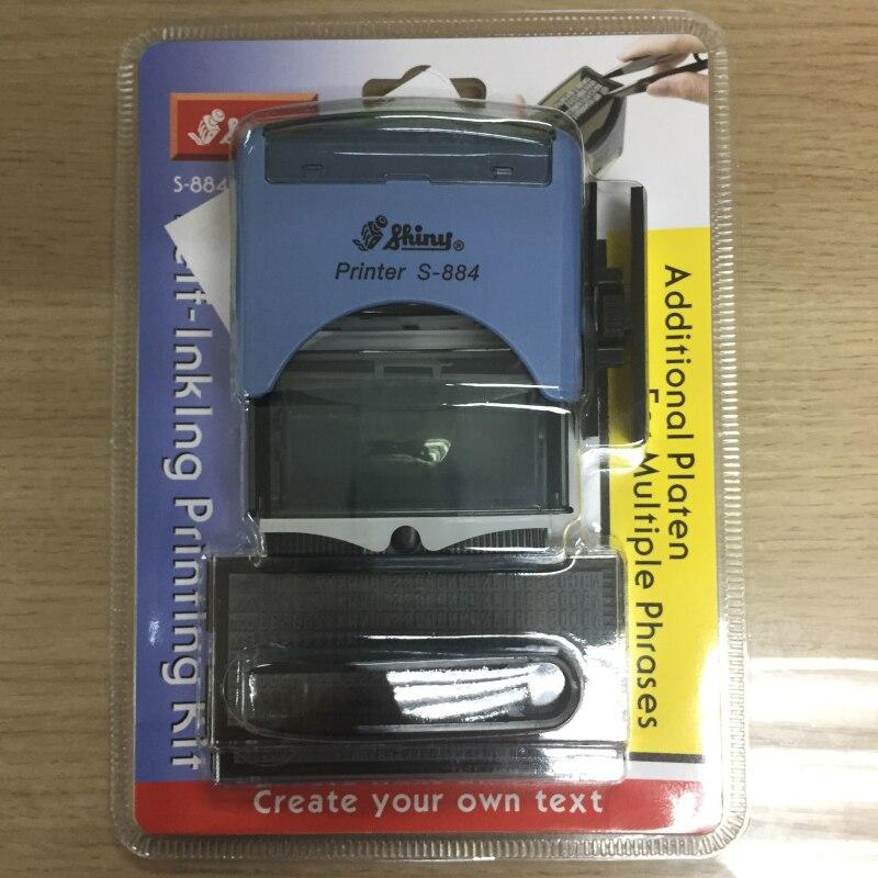 S-884 brillant 22x58mm tampon en caoutchouc auto-encreur bureau personnalisé papeterie entreprise Mini D-I-Y ensemble Stamper Kit d'impression-FF