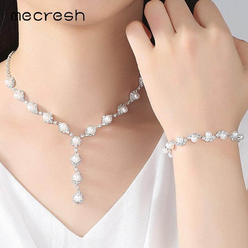 Mecresh Simulated Pearl Bride häät korut setit yksinkertainen - Muotikorut - Valokuva 2
