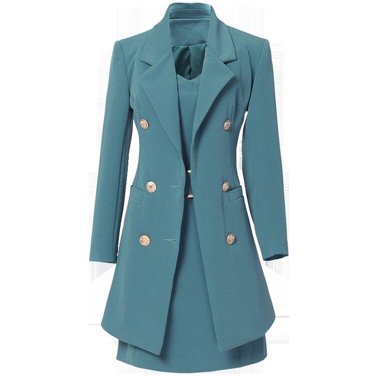Autumn Business Suit Elegant Office Dress Lady Work 2 Pieces Set Long Sleeve Blazer and Sleeveless Dress Suit Set 12