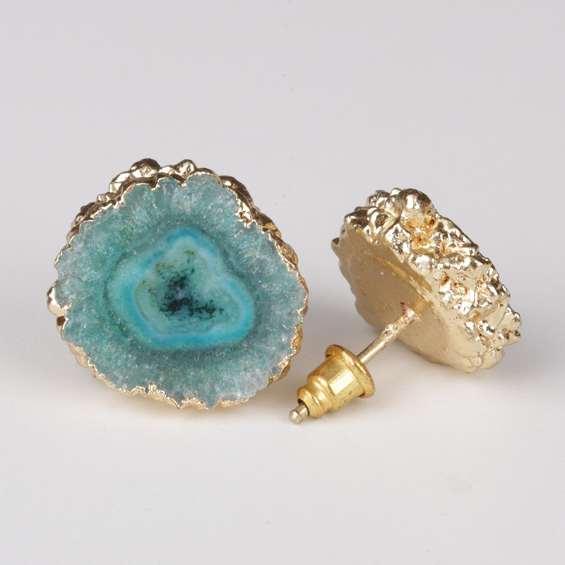 green sky blue ice blue natural solor druzy drusy stone slice bead charm gold frame push back stud earring for women unisex title=