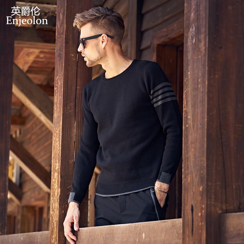 Enjeolon Inverno Tricô Sweaters Pulôver Camisola Dos Homens do Algodão Para Os Homens Da Moda O pescoço Camisola masculino Pulôver Ocasional Camisola MY3222
