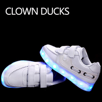 CLOWN DUCKS Luminous Sneakers USB Children Shoes With Light Up Sole For Kids Boys Girls Basket
