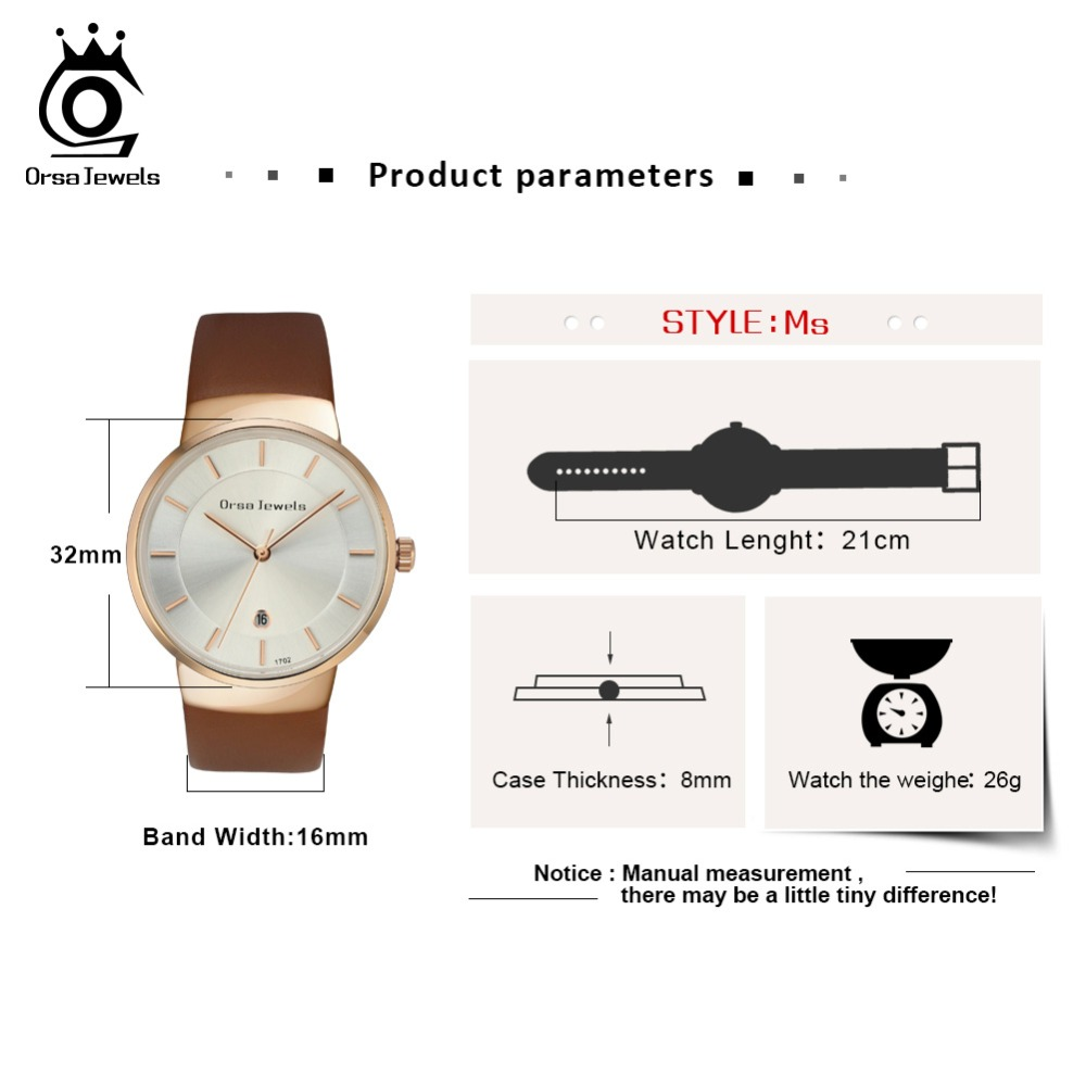 ORSA JEWELS Dress Watch For Women Luxury Fashion 4 Colors Wristwatches Office Ladies Gift Relogio Feminino Jewelry OW04 5
