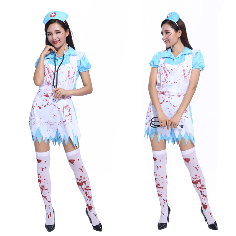 Explosion models shipping Cosplay Halloween costume masquerade costume adult horror nurse role playing nurse bloody terror