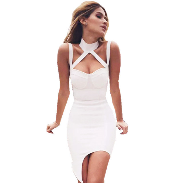 robe sexy bodycon dress for women hollow out halter mini short club