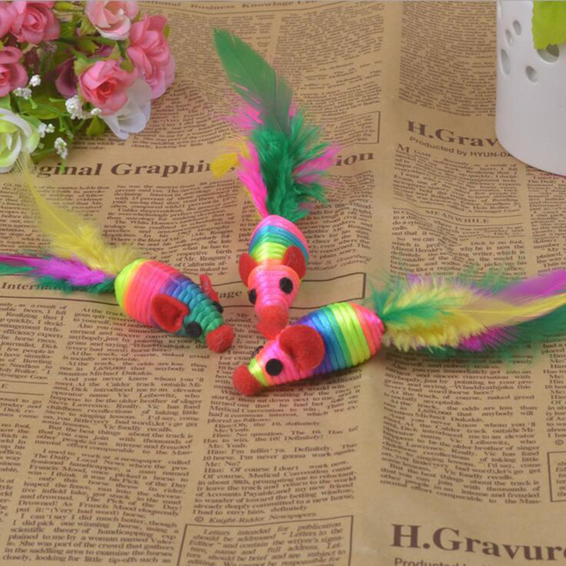 3pcs/lot hot pet toys BOXF02 cat toy mouse tail with color feather nontoxic cats favorite toy catsplaying 5zcx426