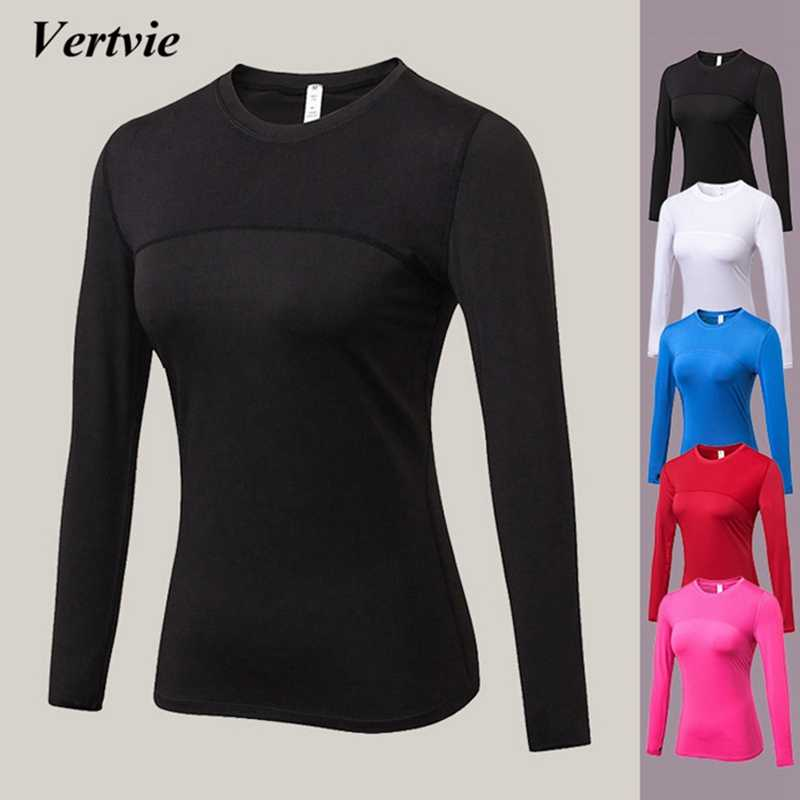 Vertvie Long Sleeve T-shirts Women Yoga Gym Compression Tights Sportswear Fitness Quick Dry Running Tops Body Shaper Tee Shirts