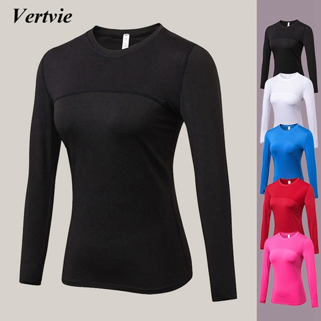 Vertvie футболки с длинными рукавами для женщин, Спортивные Компрессионные колготки для йоги, спортивная одежда, фитнес, быстросохнущие топы для бега, шейпер для тела, футболки