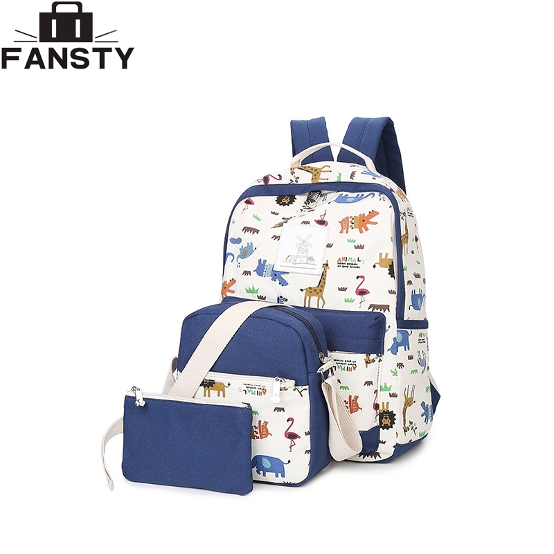 Summer New Women Casual Canvas Backpack 2016 Fashion Animal Printing Shoulder Bag Girls School