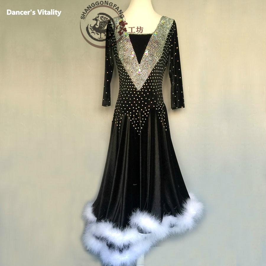Latin Dance Dress 2017  Feather Women Latin Dress Elim Son Competition Clothing Dance Costume BM240 New V Long Skirt 120-180cm