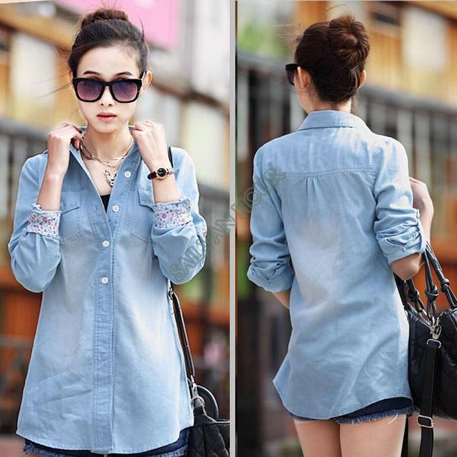 331bb8647ffd3e Free Shipping 2014 New Women Denim Shirt Long Sleeves Western Slim Denim  Blouse Casual Jeans Wear