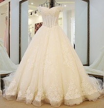 Luxury Ball Gown Wedding Dress Short Sleeve Boat Neck Applique Beading Vestidos De Noiva NM 657
